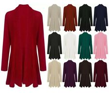 WOMENS CARDIGAN LADIES LONG SLEEVE WATERFALL OPEN BASIC KNITTED CARDIGAN JUMPER