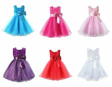 Flower Girl Kids Princess Wedding Bridesmaid Party Formal Sequin Ball Gown Dress