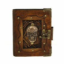Skull Head Brown Handmade Leather Journal Notebook Diary Sketchbook Book