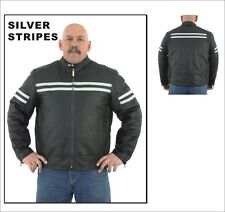 Mens Motorcycle Black Leather Jacket With Cream Stripes New Size M-2XL