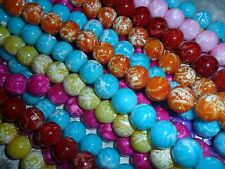 bag of stunning 14mm quality white splash glass round beads, mixed colors
