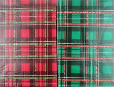 Christmas Plaid Red/Green Vinyl Flannel Bk Tablecloth Various Sizes