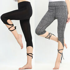 Womens Sports Gym Yoga Workout Cropped Leggings Running Elastic Fitness Pants