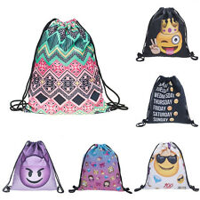 New Drawstring Backpack Emoji Cinch Sack Gym Tote Bag Canvas School Sport Pack