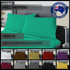 1000 THREAD COUNT EGYPTIAN COTTON 4 Piece Bed Fitted,Flat Sheet+Pillowcase Set