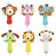 Cute Soft Plush Animal Stick Hand Bell Rattle Educational Kids Toy Xmas Gifts