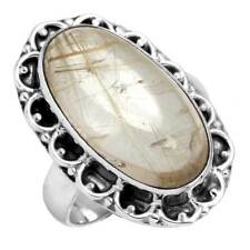 925 Solid Sterling Silver Golden Rutilated quartz Women Ring Size 7 zc57834