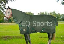 """FREE P&P Knight Rider Heavy Weight Turnout Rug F/Neck 5'3""""- 6'3"""" Green/Blk 400g"""