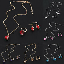 Gold Plated Austrian Crystal Earrings With Pendant Necklace Rings Jewelry Set SM