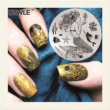 YZWLE Nail Template ART Polish stamping PLATE manicure Stainless Steel Stencil