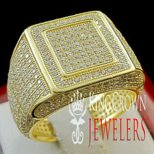 14K YELLOW GOLD STERLING SILVER DIAMOND SIMULATED MENS DESIGNER PINKY RING BAND