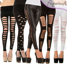 Leggings Ripped Diamante Leather Look Dance Gothic Punk  Womens Ladies Size ❤
