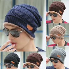 Fashion Men Women Crochet Knit Baggy Beanie Wool Hat Winter Warm Fleece Chic Cap