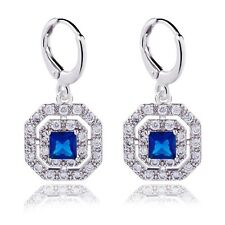 USA White Gold Platinum Plated Studded Zircon Crystal Hoop Wedding Earrings