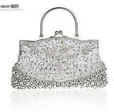 Women Beaded Evening Bag Sequins Clutch Handbag Cocktail Party Prom Bag Purse