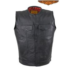 Mens NoCollar Cowhide Leather Motorcycle Club Vest With Red Liner And Gun Pocket