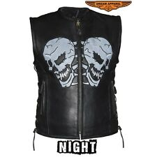 Mens Premium Cowhide Leather Vest With Reflective Skulls And Side Laces