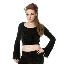 Banned 9 Lives Hello Velvet Black Flare Sleeve Ladies Gothic Style Crop Top
