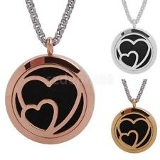 Fashion Double Heat Aromatherapy Essential Oil Diffuser Locket Pendant Necklace