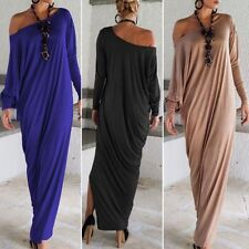 Women Ladies Casual Long Sleeve Evening Party Cocktail Maxi Plus Size Long Dress