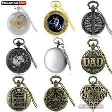 Quartz Pocket Watch Bronze Steampunk Nightmare Vintage Retro Necklace Xmas Gift
