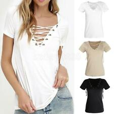 Sexy Women V-Neck Summer Casual Loose Bandage Hollow Out Tops Blouse T Shirt