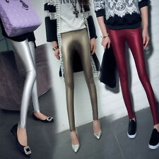 Sexy Women Skinny Faux Leather Stretch Legging Custom Fit Pants Trouser One Size