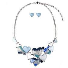 Fashion Heart Resin Statement Necklace Collar Bib Bubble Earring Jewelry Set