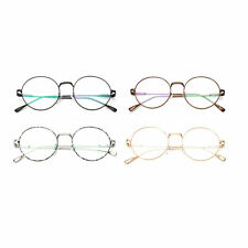 Vintage Eyeglasses Metal Round Frame Green Film Plain Glass Spectacles SM