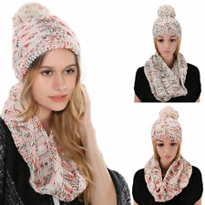 2 Pcs/Set Winter Women Warm Wool Knitted Fashion Scarf And Hat Beanie Cap SM