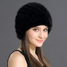 Women's Winter Hats With Natural Real Fur Female Cap Mink Fur Real Knitted Caps