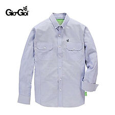 GIO GOI MENS BLUE WHITE STRIPED SACKVILLE LONG SLEEVE COTTON SHIRT