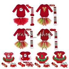 3PCS Baby Girls Newborn Clothes Infant Xmas Bodysuit Romper Tutu Dress Costume