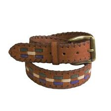 3D Belt Mens Western Roughout Lacing Brass Rustic Brown Turquoise 1322