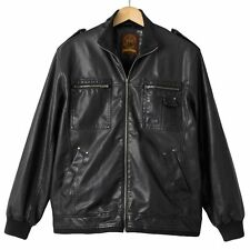 New Ron Chereskin Men's Black Military Hipster Faux Leather Jacket MSRP $140