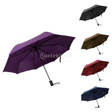 Pongee 3 Folding Durable Automatic Umbrella with Straight Handle