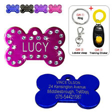 Bling Bone Shape Custom Dog Tags for Pets Engraved Cat ID Tag Personalized Free
