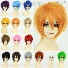 UNISEX Anime Short Straight Hair Wig Fluffy Cosplay Party Costume Full Wigs #la