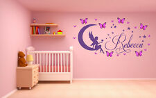 Personalised Name Fairy & 3D butterflies, Vinyl Wall Art Sticker, Mural, Decal