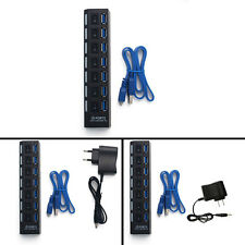7 Ports USB 3.0 HUB with On/Off Switch Power Adapter Cable For Laptop PC SR1G