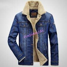 Mens Boy Denim Cowboy Fur Lined Cotton Thicken Coat Slim Fit Jean Jacket Outwear