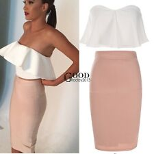 Women Fashion Sexy Two Pieces Strapless Backless Ruffled Crop Tops + Skirt