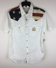 Denim & Supply Ralph Lauren Men American Flag Inspired Western Shirt  White S