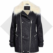 River Island Black Leather-Look Faux Fur Collar Jacket Coat Size 8 New