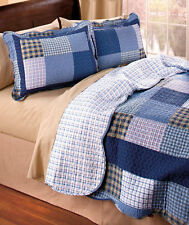 3-Pc Mulberry Square Quilt + 2 Shams Set Country Cottage Home Bed Decor Gift