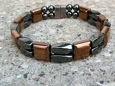 Men's Womens Magnetic BLACK & COPPER Hematite Bracelet Anklet 2 row Super Strong