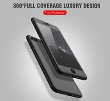 Hybrid 360° Hard Ultra thin Case + Tempered Glass Cover For Apple Samsung Phones