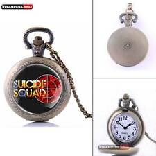 Antique Quartz New Vintage Suicide Squad Pendant Pocket Watch Chain Necklace Men