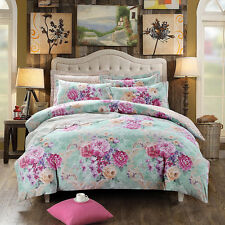 100% Cotton Peony Flower Bedding Set Duvet Cover Bedsheet Queen/King Gift 4pcs
