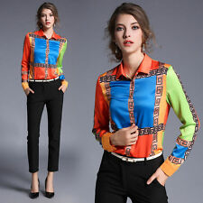 Fashion Womens Long Sleeve POLO Collar Shirt Orange Hit-color Slim Tops Blouse